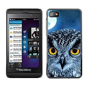 Qstar Arte & diseño plástico duro Fundas Cover Cubre Hard Case Cover para Blackberry Z10 ( Owl Moon Night Eyes Bird Smart School)