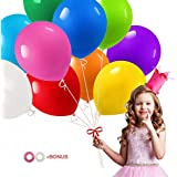 Party Balloons 12 Inches Rainbow Balloons Pack of 100 Assorted Color Latex Balloons for Birthday Party, Wedding, Proposal, An