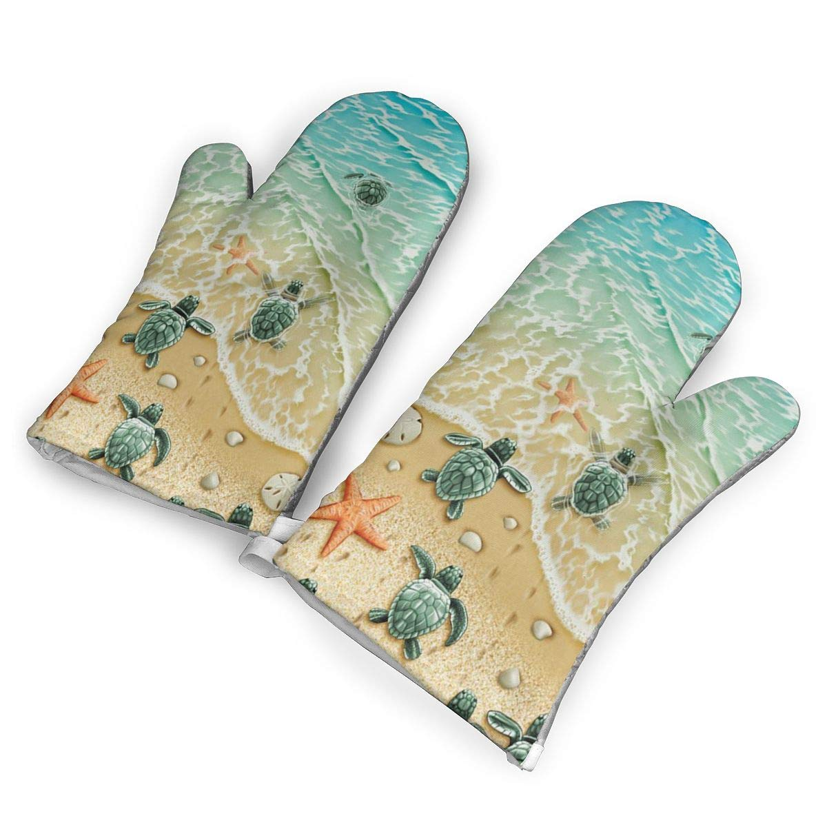 Turtles On The Beach Oven Mitts Gloves 2 Set Microwave BBQ Oven Cotton Baking Pot Mitts, Kitchen Glove Heat Resistant Cook Gloves Mitts Cooking, Baking, Barbecue Potholder, Present