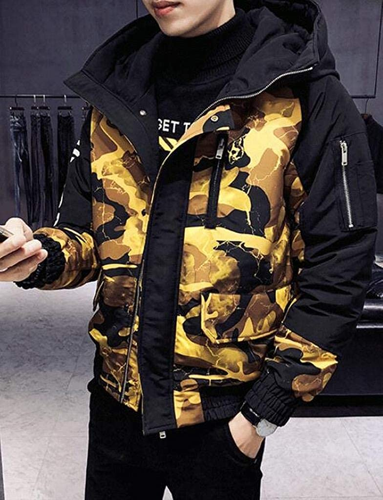 Suncolor8 Men Full-Zip Winter Camouflage Thicken Slim Fit Hooded Down Coat Jacket Outerwear