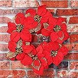 Christmas Wreath REYO Party Leaf Door Wall Decoration Handmade Window Ornament Garland Wreath (red, Diameter :40cm/15.8'')