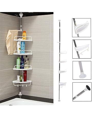 Estante de esquina para baño, 4 estantes, telescópico, acero inoxidable, esquina,