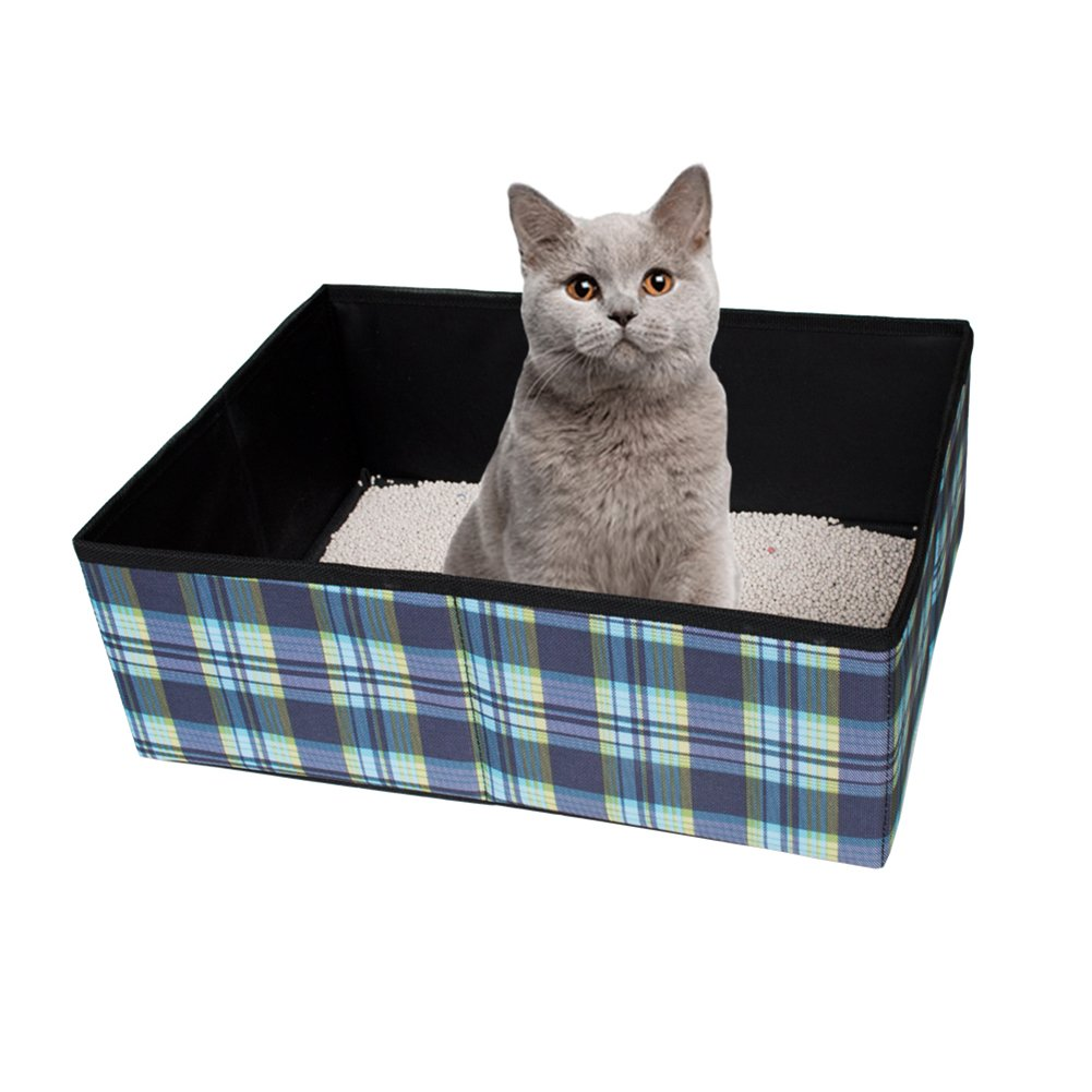 Yunt Foldable Cat Litter Box Portable Waterproof Cat Litter Pan Cat Toilet