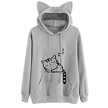LILICAT Womens QuotIm A Cat Printed Long Sleeve Hoodie Sweatshirt