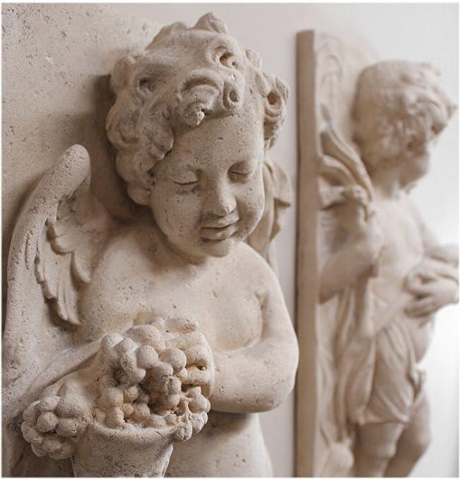 STONE GARDEN PAIR OF ROMAN LADY CHERUB GREEK ANGEL WALL PLAQUES