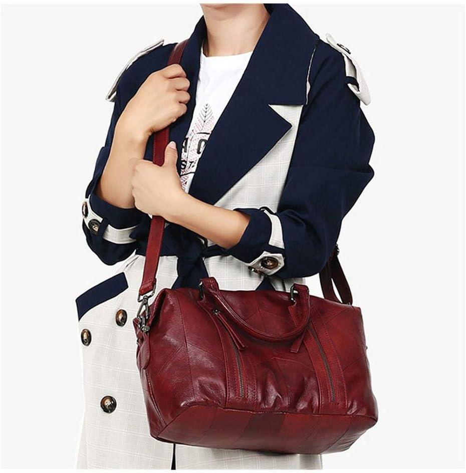 Jichuo Haute Qualité Mode Casual Rouge Noir Bleu en Cuir véritable Femmes Sacs à Main Femme Tote Lady épaule Messenger Bag Sacs à Main Femme (Color : Black) Red