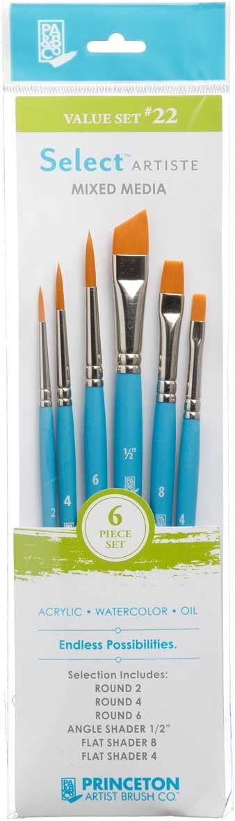 Size 3//4 Inch Princeton Select Artiste Watercolor Series 3750 Wave Oval Mop Synthetic Oil Mixed-Media Brushes for Acrylic