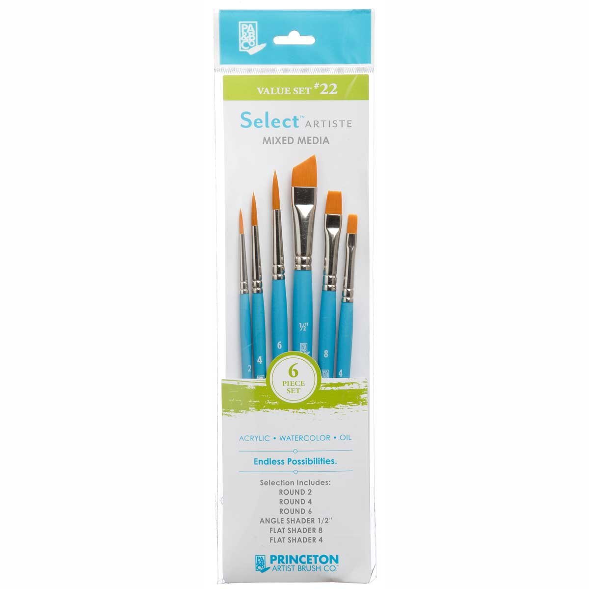 Princeton Select Artiste, Mixed-Media Brushes for Acrylic, Oil, Watercolor Series 3750, 7 Piece Value Set 123