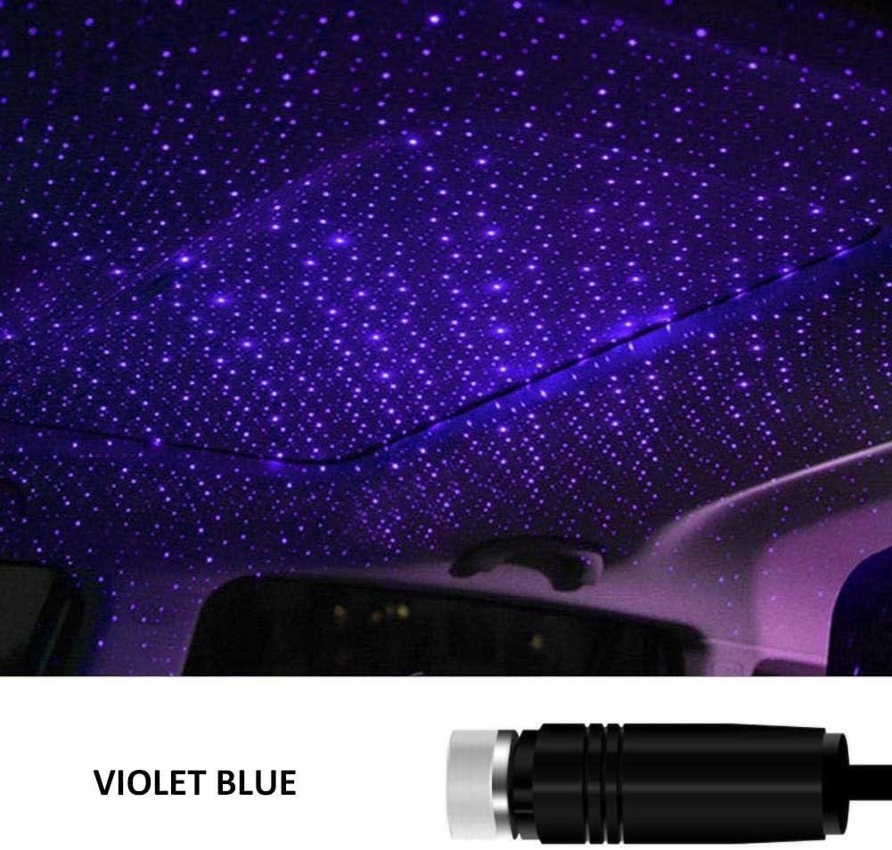 FRFJY USB Toit De Voiture Atmosph/ère Star Sky Lampe Ambient Star Light LED Projecteur Violet Veilleuse R/églable Multiple Effets D/éclairage