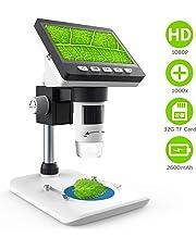 LCD Digital Mikroskop,CrazyFire 4,3 Zoll 1080P HD Digital Microscope Kamera Video Recorder 1000X Vergrößerung Zoom Nachladbare Batterie Endoskop mit 8 LEDs für Windows Pc(Mitgelieferte TF-Karte)
