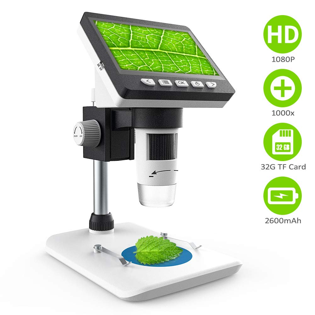 LCD Digital Microscope,CrazyFire 4.3 inch 1080P Full HD 1000x Microscope with 32G TF Card Built in 2600mAh Rechargeable Battery Handled USB Microscope Camera for Kids,Children,Lab,Edu. Windows