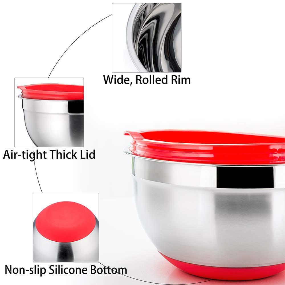 P&P CHEF Mixing Bowls With Lids, Set of 6 (12 Piece), Stainless Steel Nesting Mixing Bowls & Tight Fitting Lids & Non-Slip Silicone Bottom, 6 Multi Size (1/1.5/2.5/3/4/5qt) by P&P CHEF (Image #4)