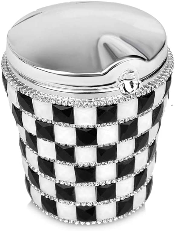kiwilife Car Ashtray Diamond Bling Car Cigarette Ashtray with Blue LED Light Smokeless Stand Cylinder Cup Holder (Black & White)
