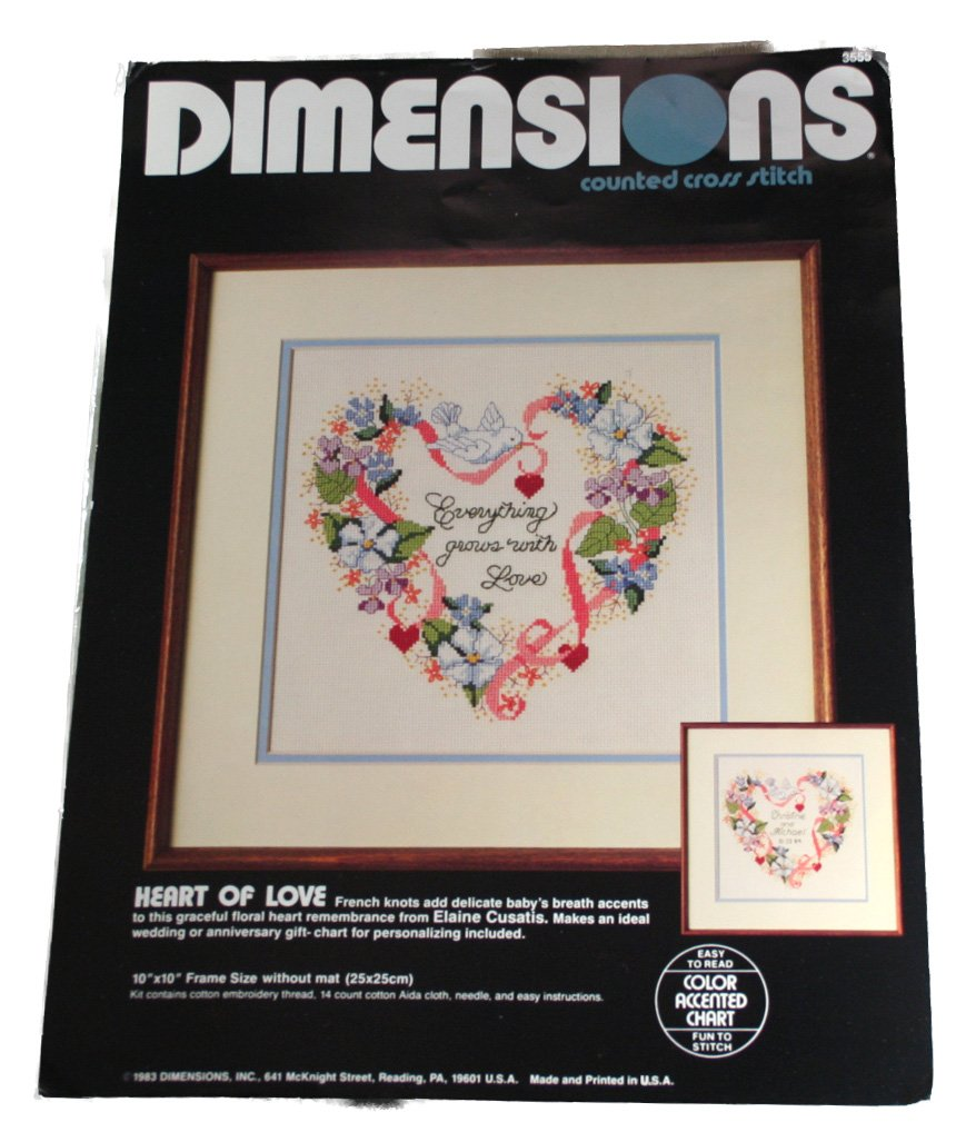 Amazon Dimensions Heart Of Love Counted Cross Stitch Embroidery