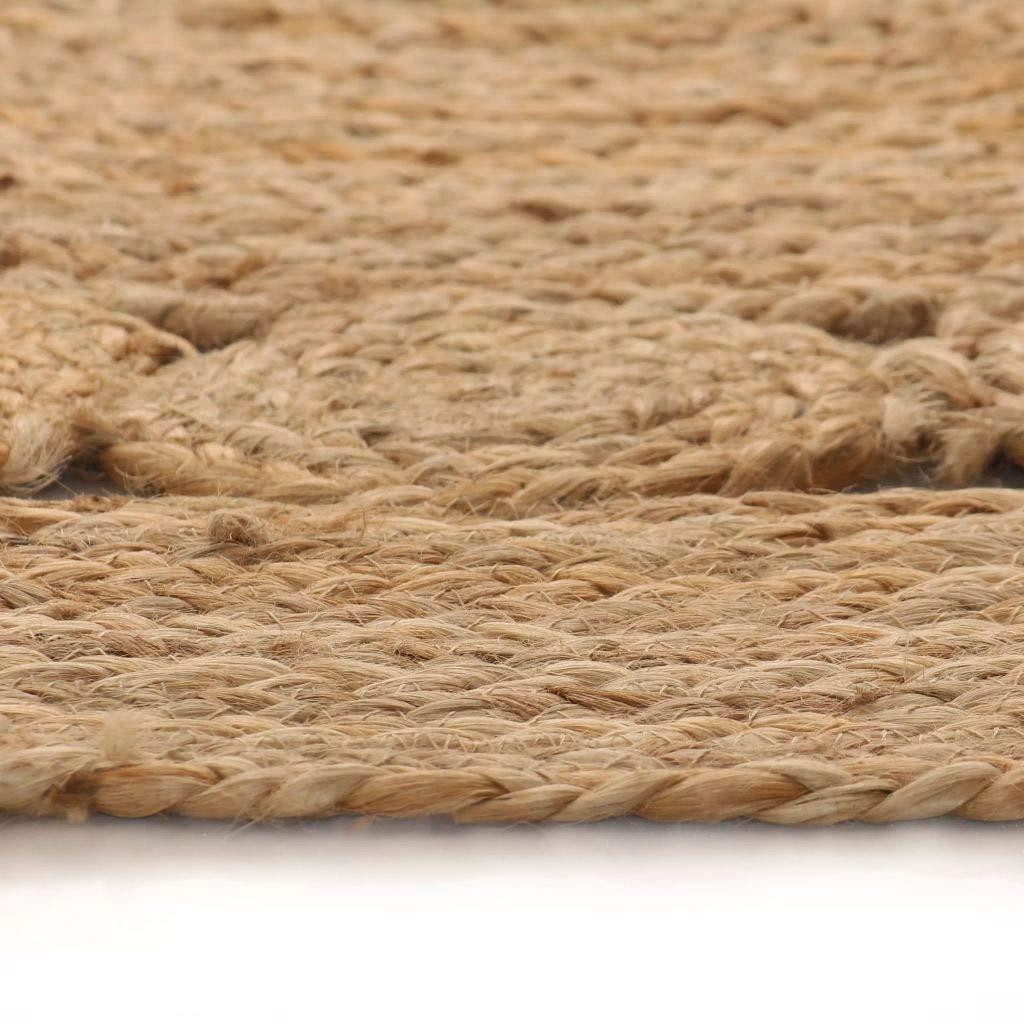 Vidaxl Tapis Jute Design Tresse 90 Cm Rond Moquette Carpette A La