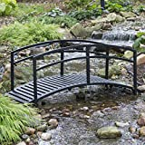 6 Ft Garden Bridge Metal Outdoor Decorative Double Arched Rails Classic Slatted Walking Surface Black: more info
