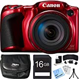 Canon PowerShot SX420 IS 20MP Red Digital Camera 16GB Card Bundle includes Camera, 16GB Memory Card, Reader, Wallet, Case, Mini Tripod, Screen Protectors, Cleaning Kit and Beach Camera Cloth