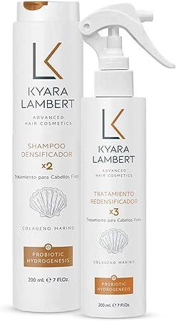 Kyara Lambert - Pack Densificador con Colágeno Marino concentrado | Tratamiento Cabellos Finos | Volumen, Densidad, Vitalidad y Fuerza del Cabello