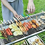 IHOMEARD BBQ Charcoal Grill Portable Foldable Outdoor Food Grade Stainless Steel Party Yakitori Kebab Satay Grill Non-Stick Frying Pan Carry bag