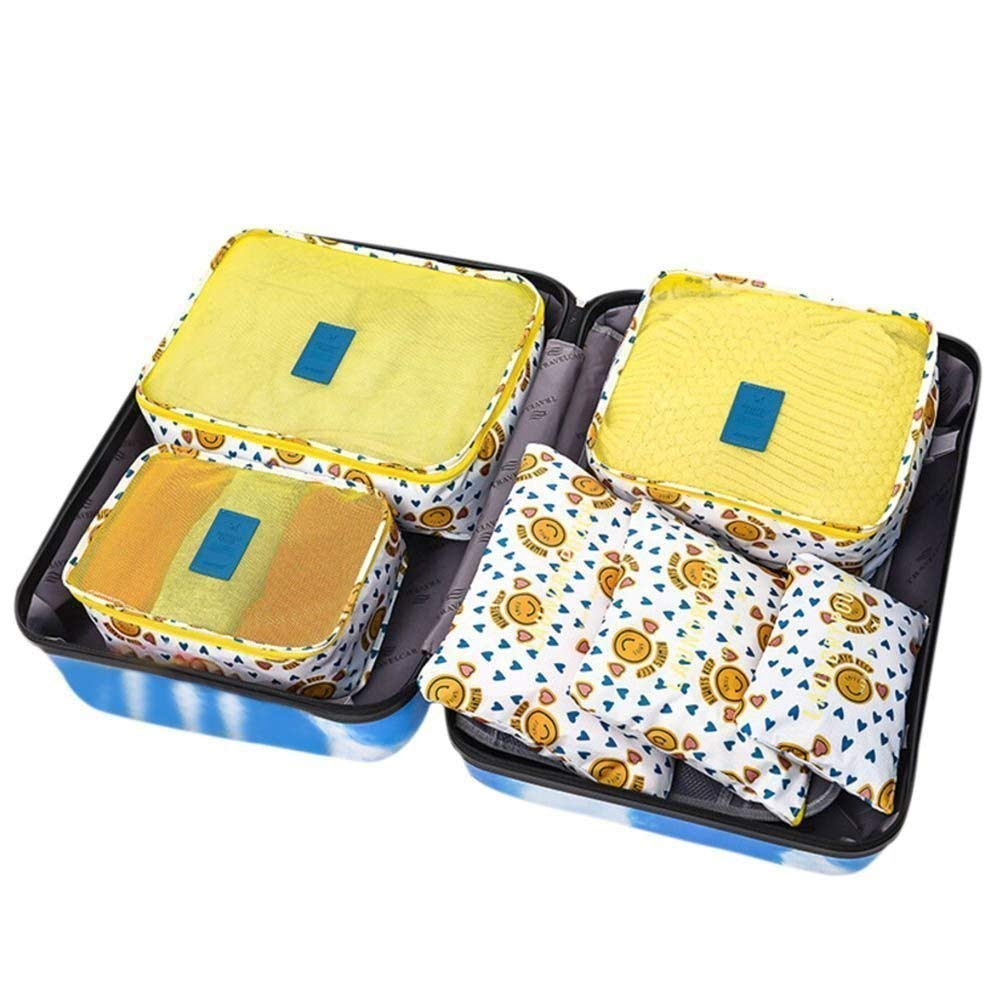Pack of 6 Waterproof Packing Pouch Cubes-Compression Travel Luggage Organizer-Clothe Storage Bag-Travel Pouch -Laundry Bag (Yellow smiling)