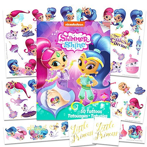 Nick Jr Shimmer and Shine Tattoos Party Favors Set ~ 50 Temporary Tattoos, 2 Little Princess Stickers (Shimmer and Shine Party Supplies)
