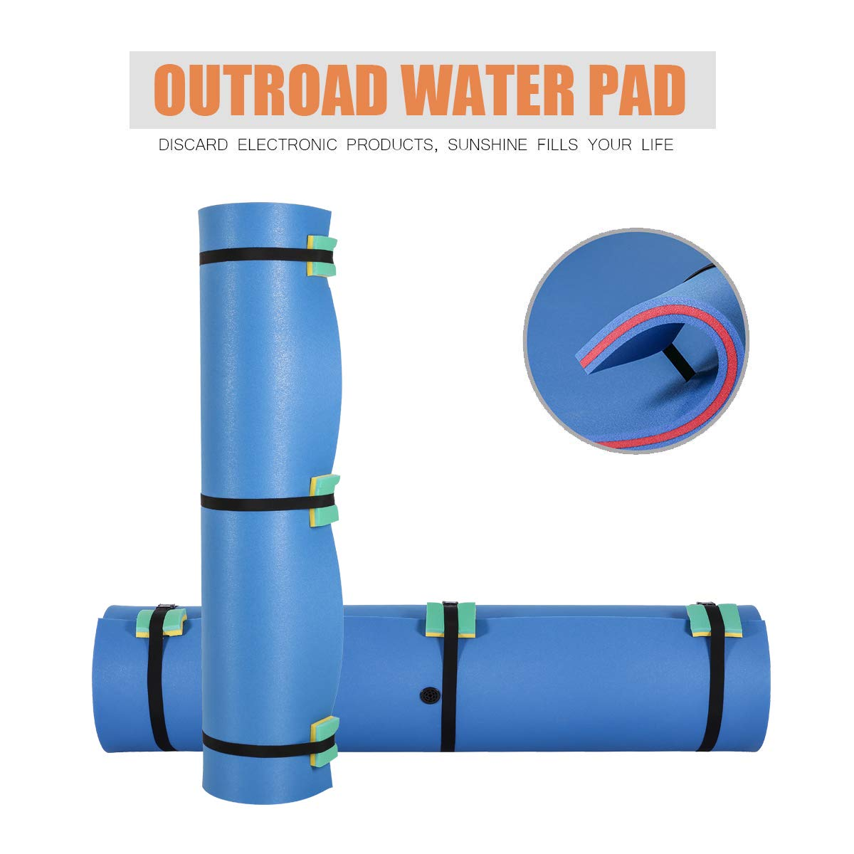 Outroad Floating Mat 12' X 6' - Recreational Floating Foam Pad Adults Kids (Blue)- Lily Pad Used in Ocean/Lake by OUTROAD OUTDOOR CAMPING GARDEN PATIO (Image #4)