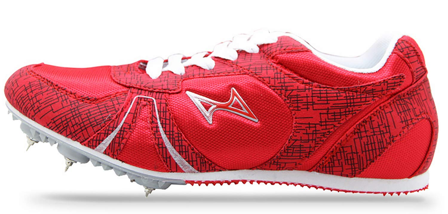 HEALTH Boy's Girl's Sprint Track & Field Shoes Spike Running Mesh Breathable Professional Sports Shoes 599 Red