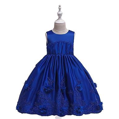 LADYLUCK Vestido De Niña Satinado Acogedor De Boda Princesa Falda ...