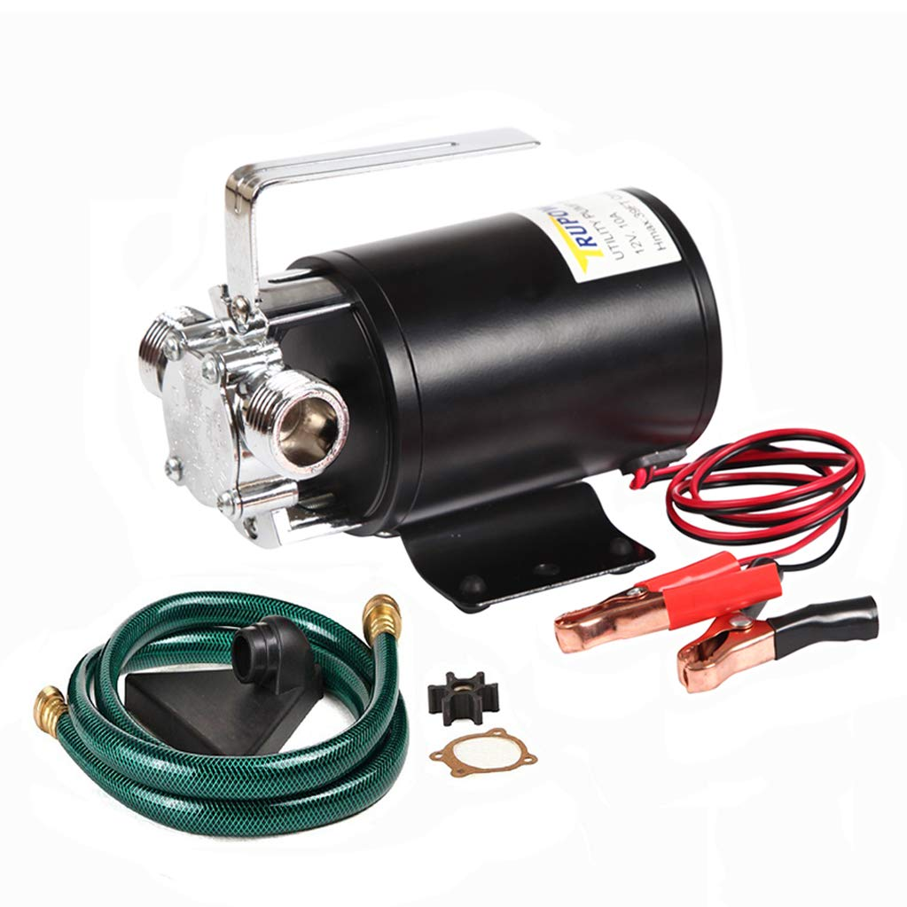 Trupow DC 12-Volt 1/10HP 330GPH Battery Powered Mini Portable Electric Utility Sump Transfer Water Pump with Water Hose Kit by TRUPOW