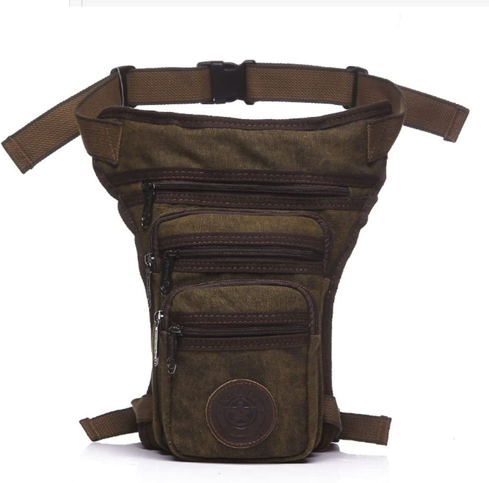 Hebetag Canvas Drop Leg Bag Outdoor Waist Pack for Men Women Tactical Military Motorcycle Bike Cycling Multi-Pocket Waist Fanny Pouch Travel Hiking Climbing Thigh Bag Pocket