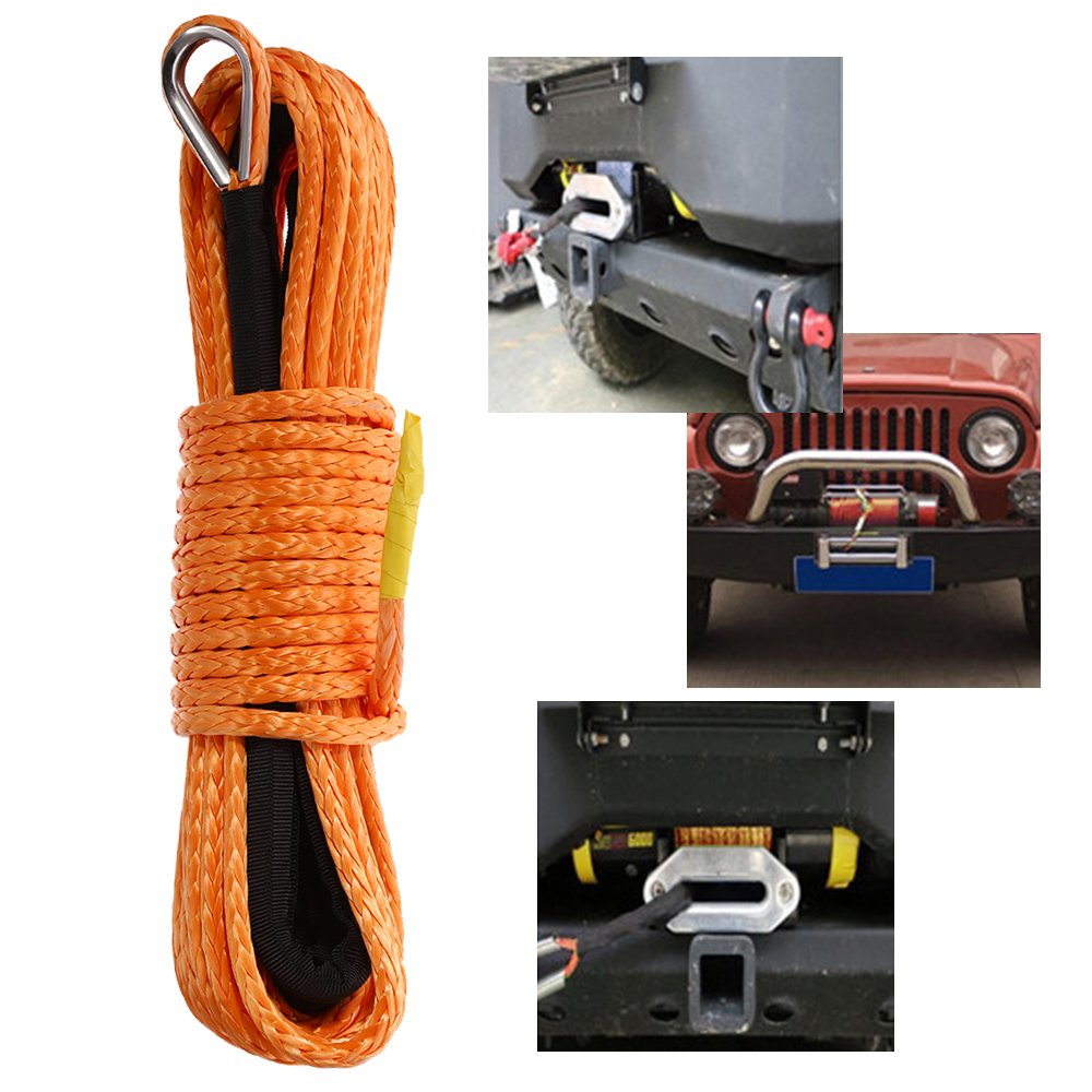 50' x 1/4' Synthetic Winch Rope with Protective Sheath Safer and Stronger for ATV UTV KFI Vehicle Car Motorcycle(Orange, 7000+LBS) Anxingo