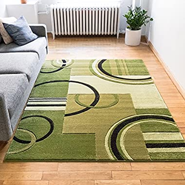 Echo Shapes & Circles Light Green Modern Geometric Comfy Casual Hand Carved Area Rug 8x10 8x11 ( 7'10  x 9'10  ) Easy Clean Stain Fade Resistant Abstract Contemporary Thick Soft Plush Living Room Rug