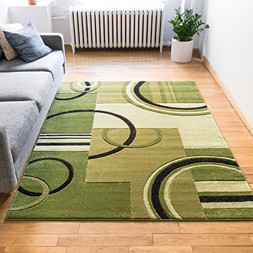 Echo Shapes & Circles Light Green Modern Geometric Comfy Casual Hand Carved Area Rug 5x7 ( 5'3