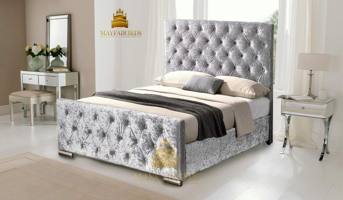 separation shoes 62096 d4c90 LUXURY CHESTERFIELD STYLE BED IN CRUSHED VELVET IN DIAMANTE WITH 54''  HEADBOARD (5FT KING SIZE, SILVER) by Desire Beds