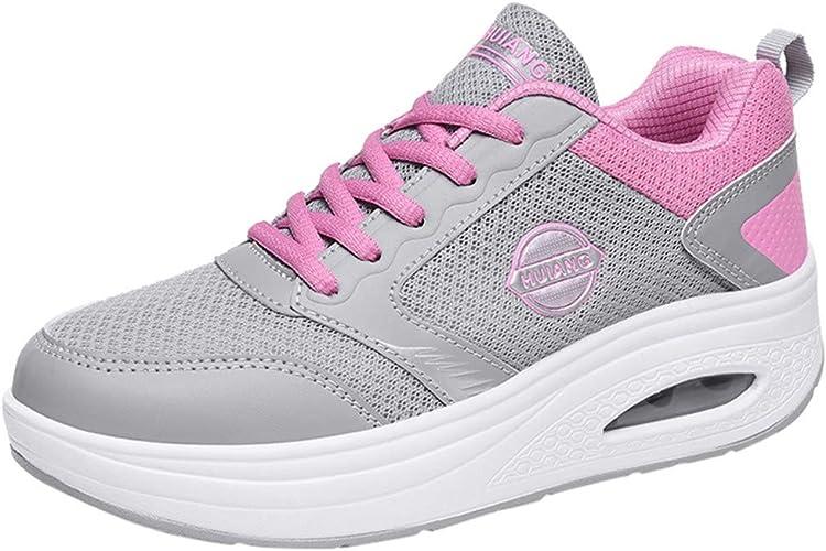 Lenfesh Moda para Mujer Malla Informal Cordón Antideslizante Ligero Amortiguación de Choque Grueso Deportes Inferiores Zapatillas Zapatillas de Deporte Zapatillas de Deporte: Amazon.es: Zapatos y complementos