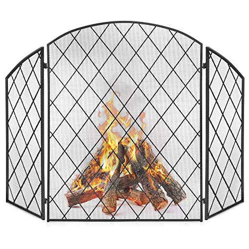 - Best Choice Products 50x30in 3-Panel Wrought Iron Decorative Mesh Fireplace Screen Gate Protector Standing Accessory, Fire Spark Guard for Indoor and Outdoor w/Folding Side Panels - Black