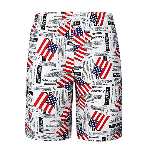 Mlide Mens Flag Graphic,Casual Pocket Beach Work Pants,Summer Swim Trunks Quick Dry Surfing Shorts Pants(Medium)