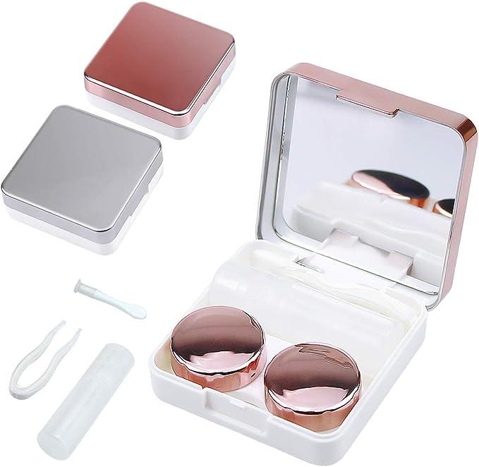 Estuche para lentes de contacto, Netspower Estuche de 2 piezas Estuche protector para lentes de contacto Contenedor para estuche Memoria de remojo con pinzas: Amazon.es: Salud y cuidado personal