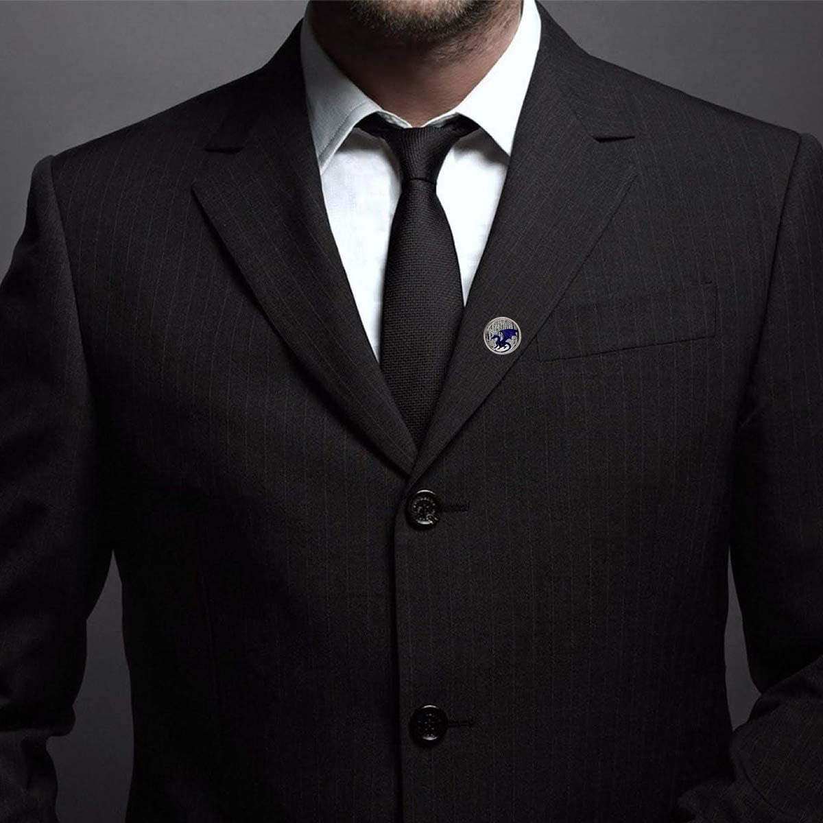 WAZZIT Round Metal Tie Tack Hat Lapel Pin Brooches Blue Vintage Dragon Banquet Badge Enamel Pins Trendy Accessory Jacket T-Shirt
