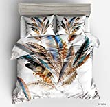 Marvelous Peacock Feathers Cotton Microfiber 3pc 80''x90'' Bedding Quilt Duvet Cover Sets 2 Pillow Cases Full Size