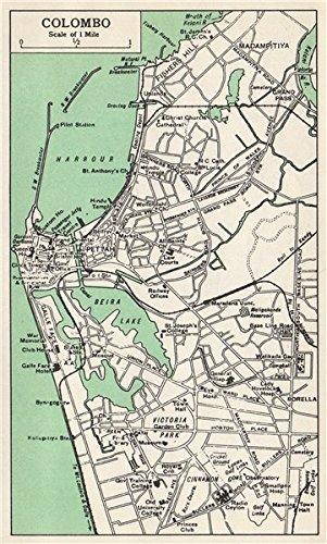 Sri Lanka Karte Zum Drucken.Colombo Town City Plan Ceylon Sri Lanka Pettah 1965 Old Antik
