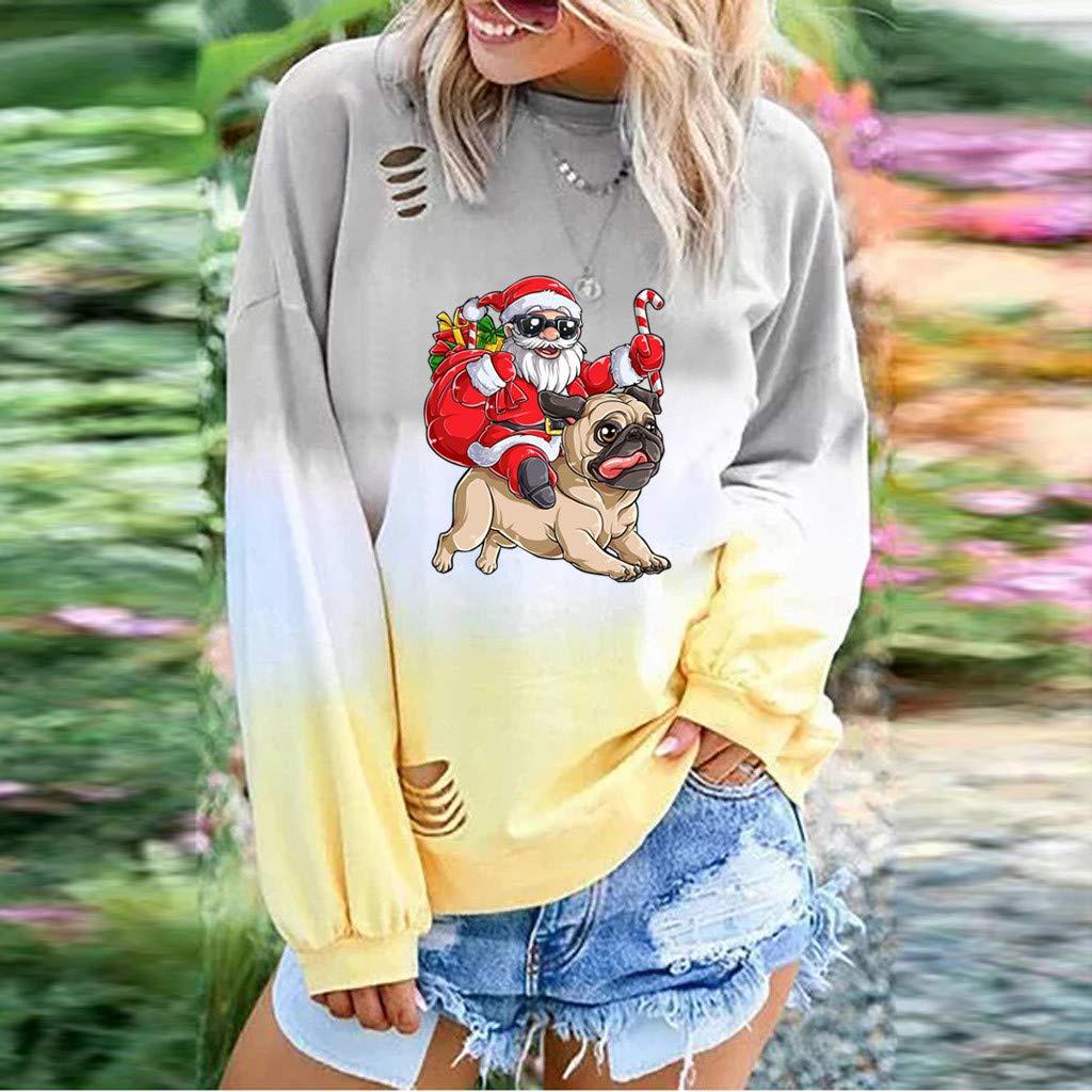 Hurrybuy Women Long Sleeve Sweatshirt Colorblock Tie Dye Christmas Printed Pullover Tops