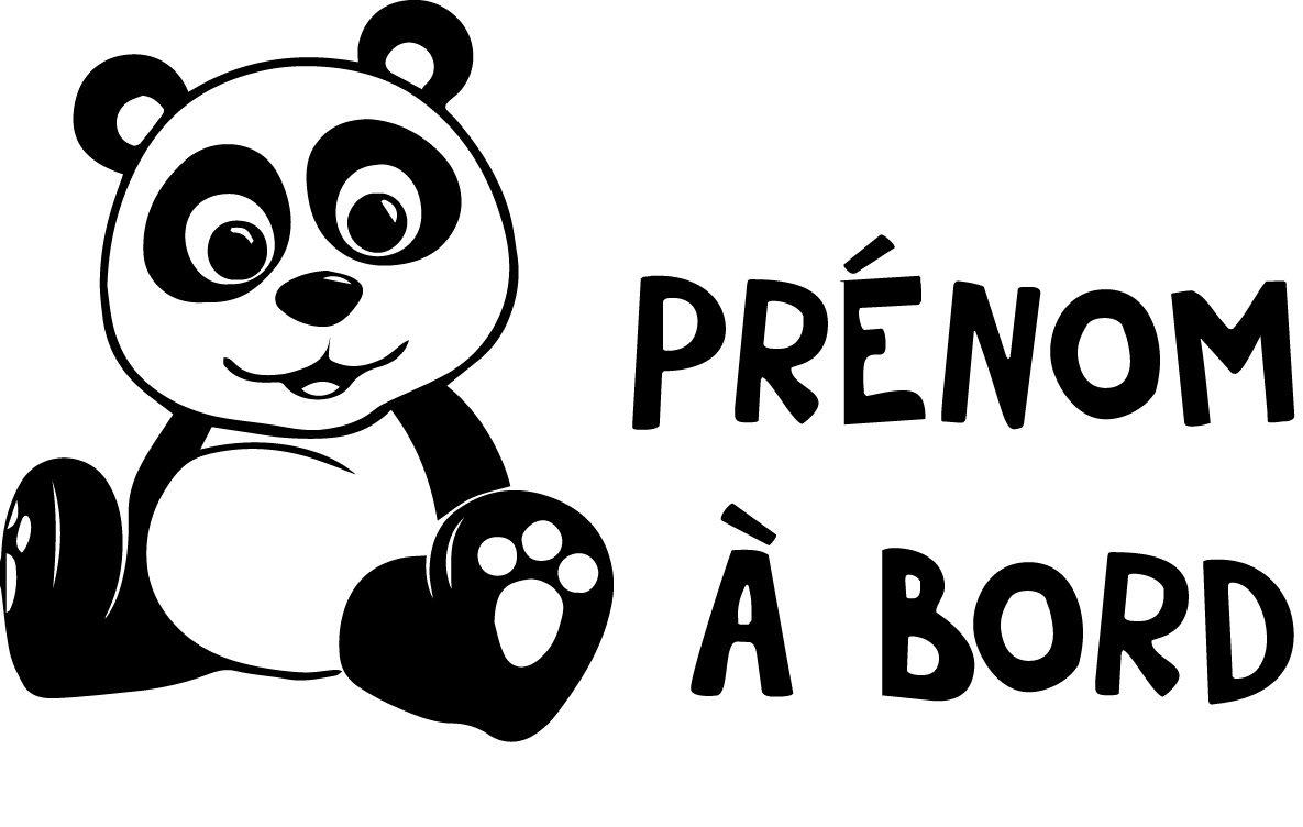 Sticker Bébé à bord PRENOM personnalisé pour voiture Panda 20 cm Noir - Anakiss