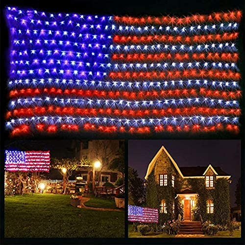 PUHONG American Flag Lights,420 Super Bright LEDs,USA Flag net Lights Outdoor Waterproof Adornment for Independence Day National Day Memorial Day Halloween Christmas Festival Party Decoration