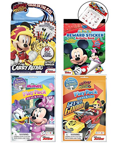 DISNEY's Mickey and Minnie Coloring and Activity Book Set with Carry Along Coloring Activity Traveler, Reward Sticker Activity Book, Grab and Go Play Packs, and Zipper Travel Bag