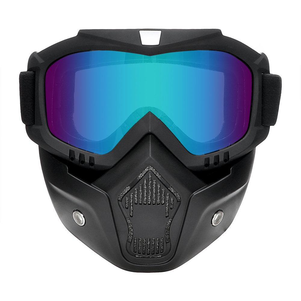 Silver Motocross Goggles for Halley Open Face Helmet Mask Vintage Ski Bike Motorcycle Glasses iTimo Detachable Goggle