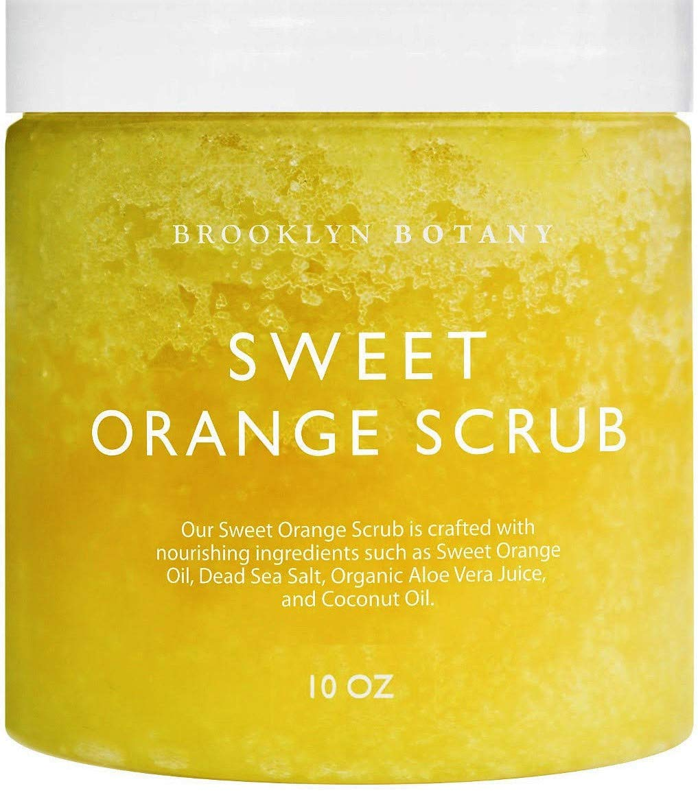 Brooklyn Botany 100% Natural Sweet Orange Summer Body Scrub - Exfoliates, Moisturizes, and Nourishes - Cleans Pores for Smoother & Softer Skin - Can Reduce Cellulite - Great Gifts For Women - 10 oz