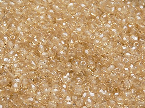 100 pcs Czech Fire-Polished Faceted Glass Beads Round 3mm Light Topaz