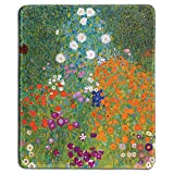 dealzEpic - Art Mouse Pad - Natural Rubber Mousepad with Famous Fine Art Painting of Cottage Garden (Bauerngarten) by Gustav Klimt - Stitched Edges - 9.5x7.9 inches