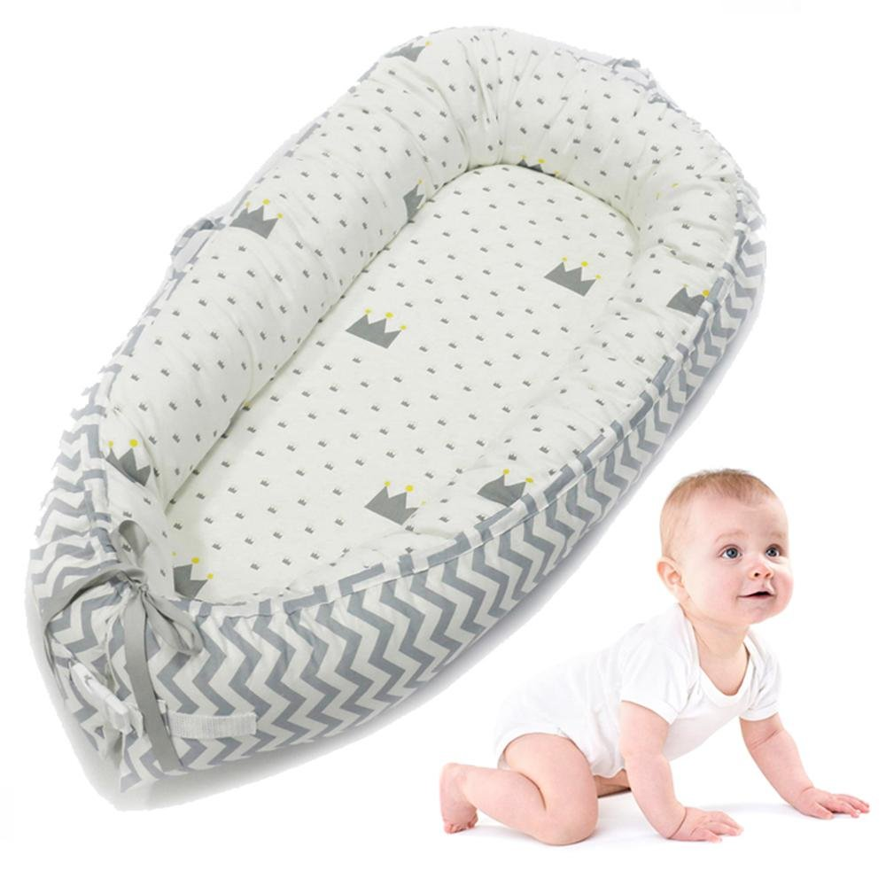 KOBWA Baby Lounger, Cotton Washable Breathable All in One Infant Baby Sleeping Bed, Portable Crib for Travel, Bedroom - for 0-2 Years, 80 x 50cm